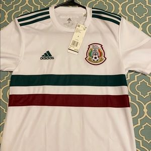 Adidas Mexico white away soccer jersey.